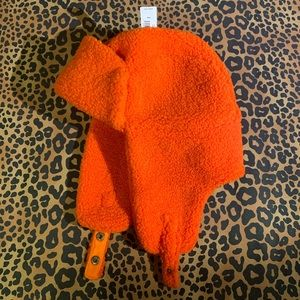 GAP orange sherpa fleece hunting cap sm/med NWT